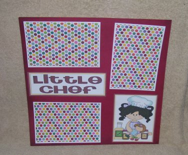 """""""Little Chef Girl bl""""-Premade Scrapbook Page 12x12"""