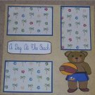 """""""A Day At The Beach Bear""""-Premade Scrapbook Page 12x12"""