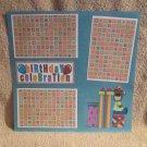 """Birthday Celebration Bear a""-Premade Scrapbook Page 12x12"