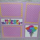 """Happy Birthday Balloons""-Premade Scrapbook Page 12x12"