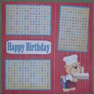 """Happy Birthday Bear w/cake 2""-Premade Scrapbook Page 12x12"