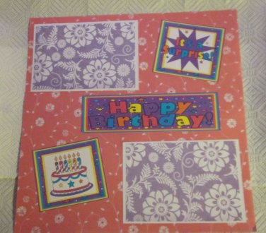 """Happy Birthday Cake 2a""-Premade Scrapbook Page 12x12"