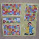 """Happy Birthday Clown 3""-Premade Scrapbook Page 12x12"