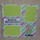 """Happy Birthday Girl Bear 2""-Premade Scrapbook Page 12x12"