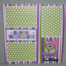 """Happy Birthday Girl Bear""-Premade Scrapbook Page 12x12"