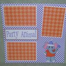 """Party Animal Elephant""-Premade Scrapbook Page 12x12"