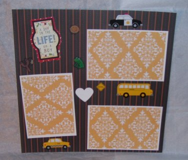 """""""A Day In The Life Of A Boy s""""-Premade Scrapbook Page 12x12"""