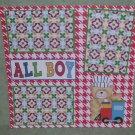 """All Boy Bear w/Train""-Premade Scrapbook Page 12x12"