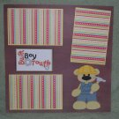 """Built Boy Tough a""-Premade Scrapbook Page 12x12"