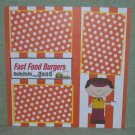 """Fast Food Burgers Boy""-Premade Scrapbook Page 12x12"