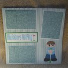 """Miniature Golfing Boy""-Premade Scrapbook Page 12x12"