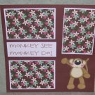 """Monkey See Monkey Do""-Premade Scrapbook Page 12x12"
