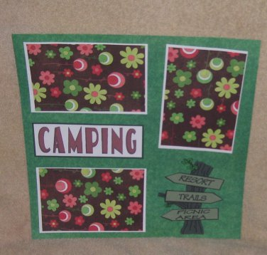 """Camping Sign""-Premade Scrapbook Page 12x12"