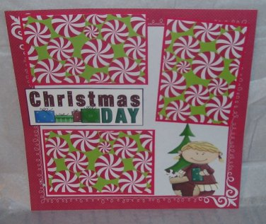 """Christmas Day Girl""-Premade Scrapbook Page 12x12"