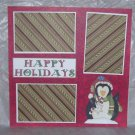 """Happy Holidays Penguin""-Premade Scrapbook Page 12x12"