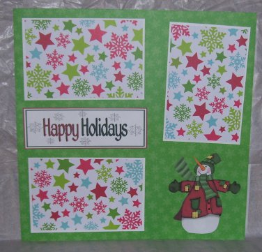 """Happy Holidays Snowman 1""-Premade Scrapbook Page 12x12"