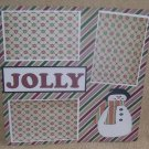 """Jolly Snowman""-Premade Scrapbook Page 12x12"