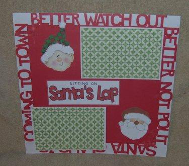 """Sitting on 1 Santa's Lap 1a3""-Premade Scrapbook Page 12x12"