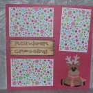 """Reindeer Crossing Red Scarf""-Premade Scrapbook Page 12x12"