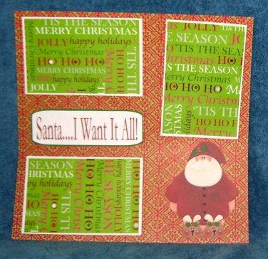 """Santa I Want It All 2""-Premade Scrapbook Page 12x12"