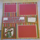 """Beary Christmas Nice bl 2a""-Premade Scrapbook Page 12x12"