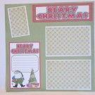 """Beary Christmas Santa and Tree bl""-Premade Scrapbook Page 12x12"