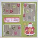 """Happy Holidays Santa and Bear a""-Premade Scrapbook Page 12x12"