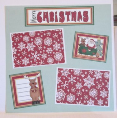 """""""Merry Christmas Santa and Deer bl""""-Premade Scrapbook Page 12x12"""