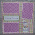 """Happy Easter Bunny 1""-Premade Scrapbook Page 12x12"
