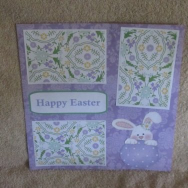 """Happy Easter Bunny in Egg""-Premade Scrapbook Page 12x12"