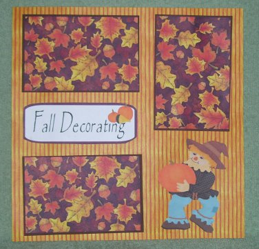 """""""Fall Decorating Scarecrow""""-Premade Scrapbook Page 12x12"""