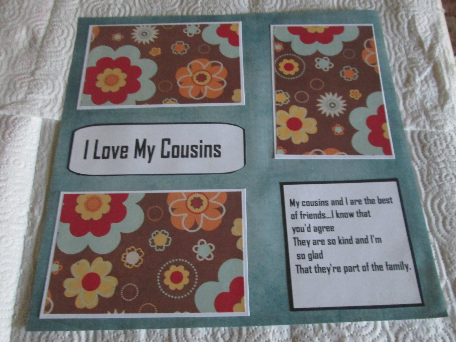 """I Love My Cousins""-Premade Scrapbook Page 12x12"
