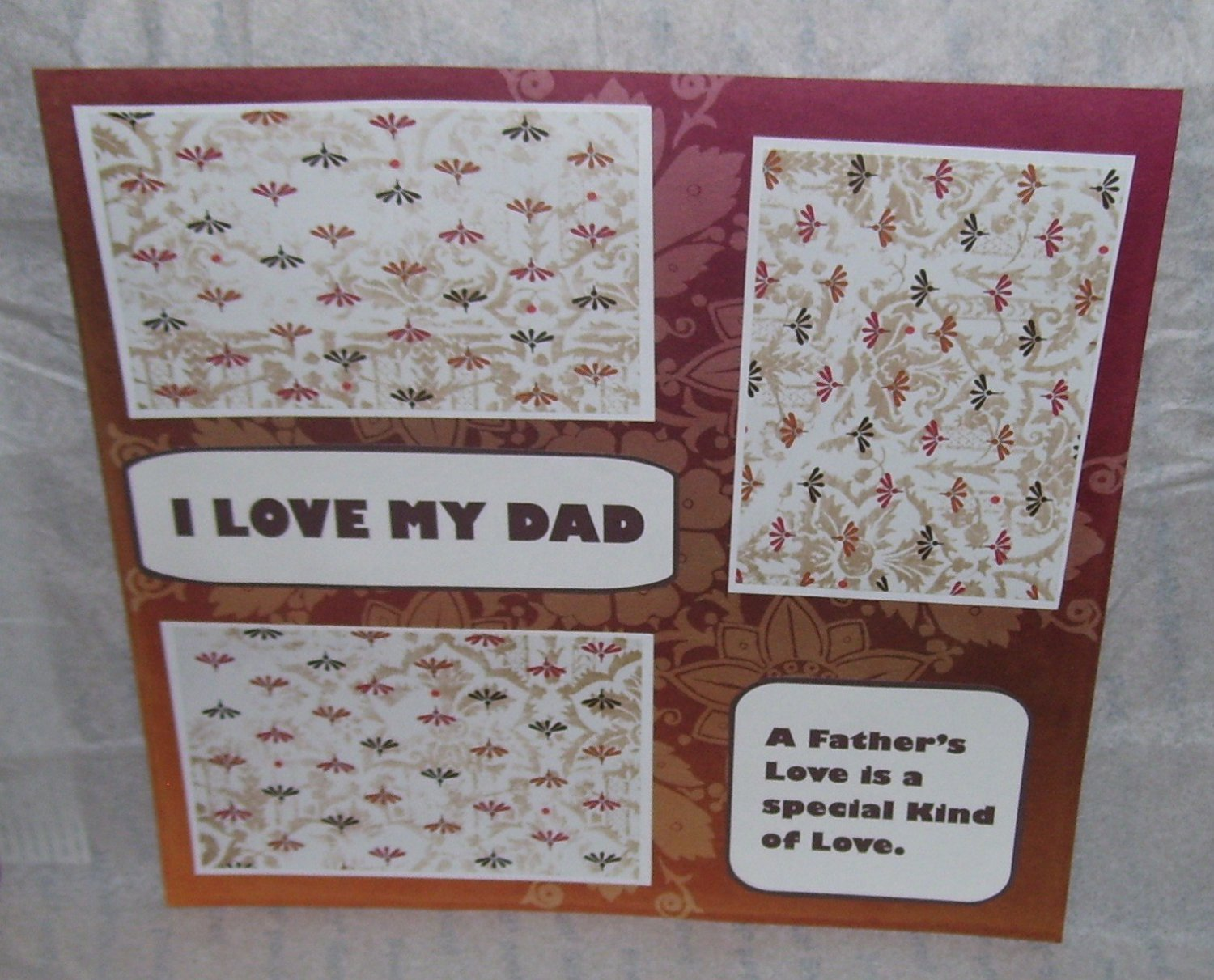 """""""I Love My Dad a""""-Premade Scrapbook Page 12x12"""