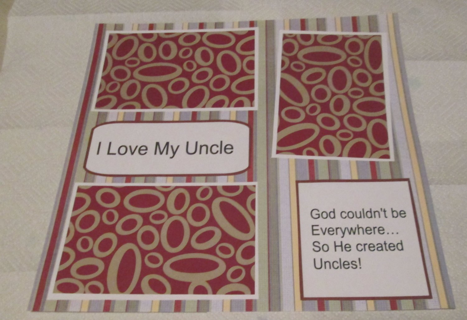 """""""I Love My Uncle a""""-Premade Scrapbook Page 12x12"""
