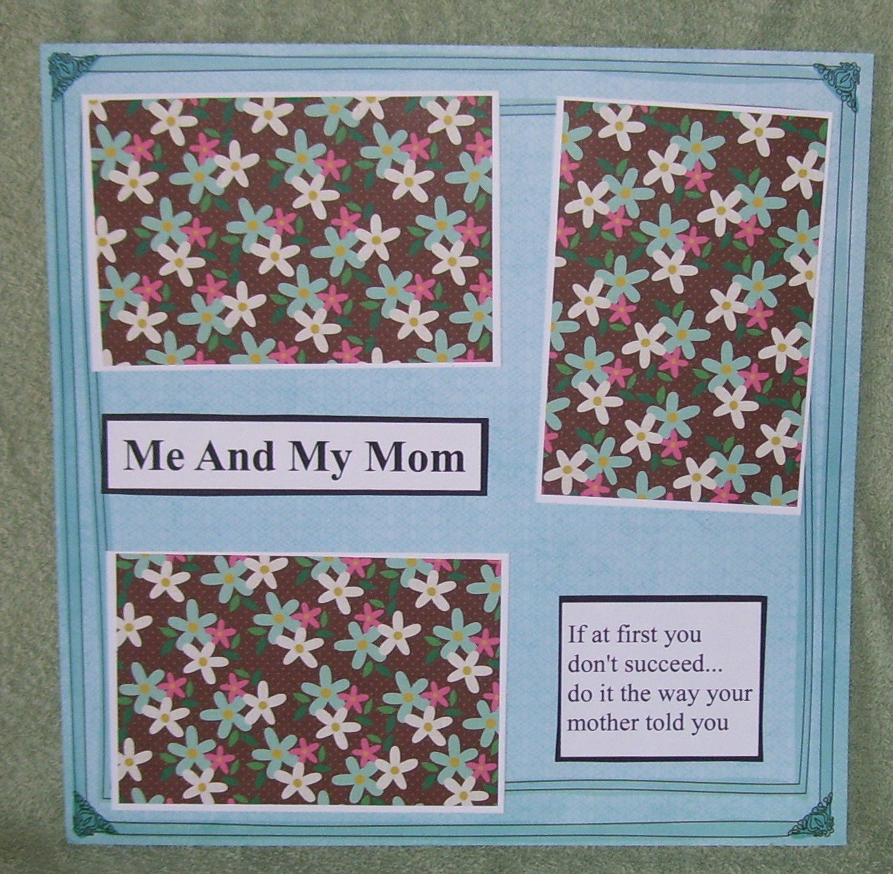 """""""Me and My Mom a""""-Premade Scrapbook Page 12x12"""