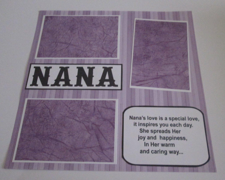 """Nana""-Premade Scrapbook Page 12x12"