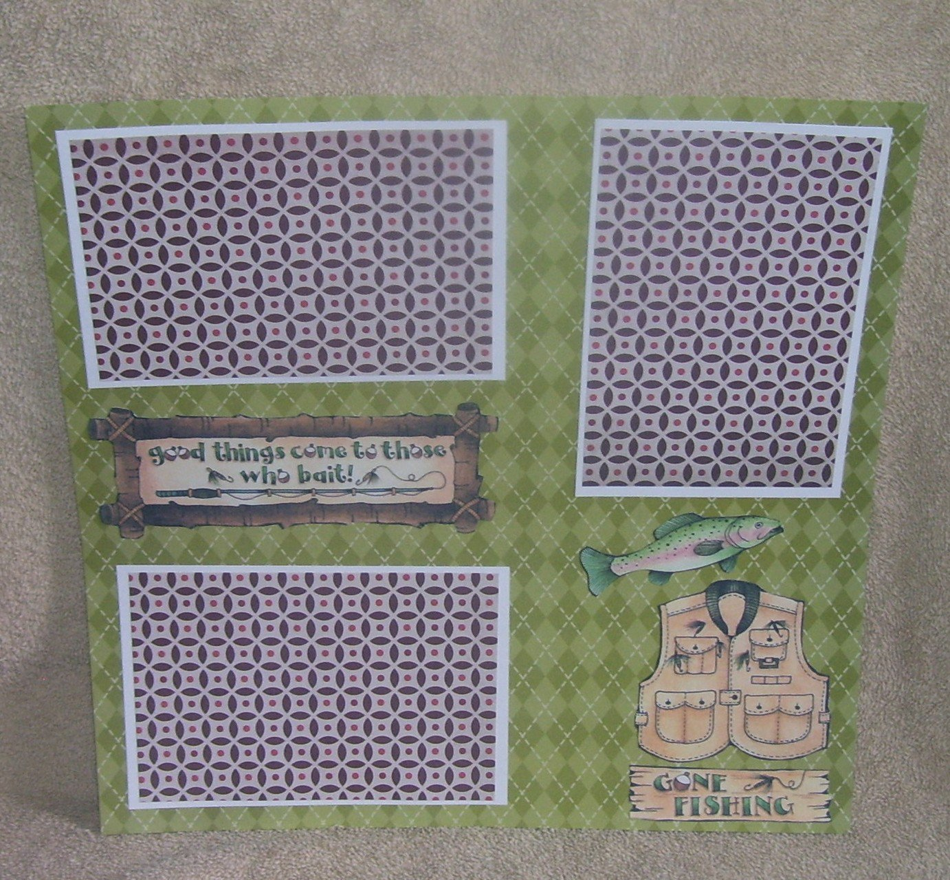 """""""Gone Fishing Good Things a""""-Premade Scrapbook Page 12x12"""