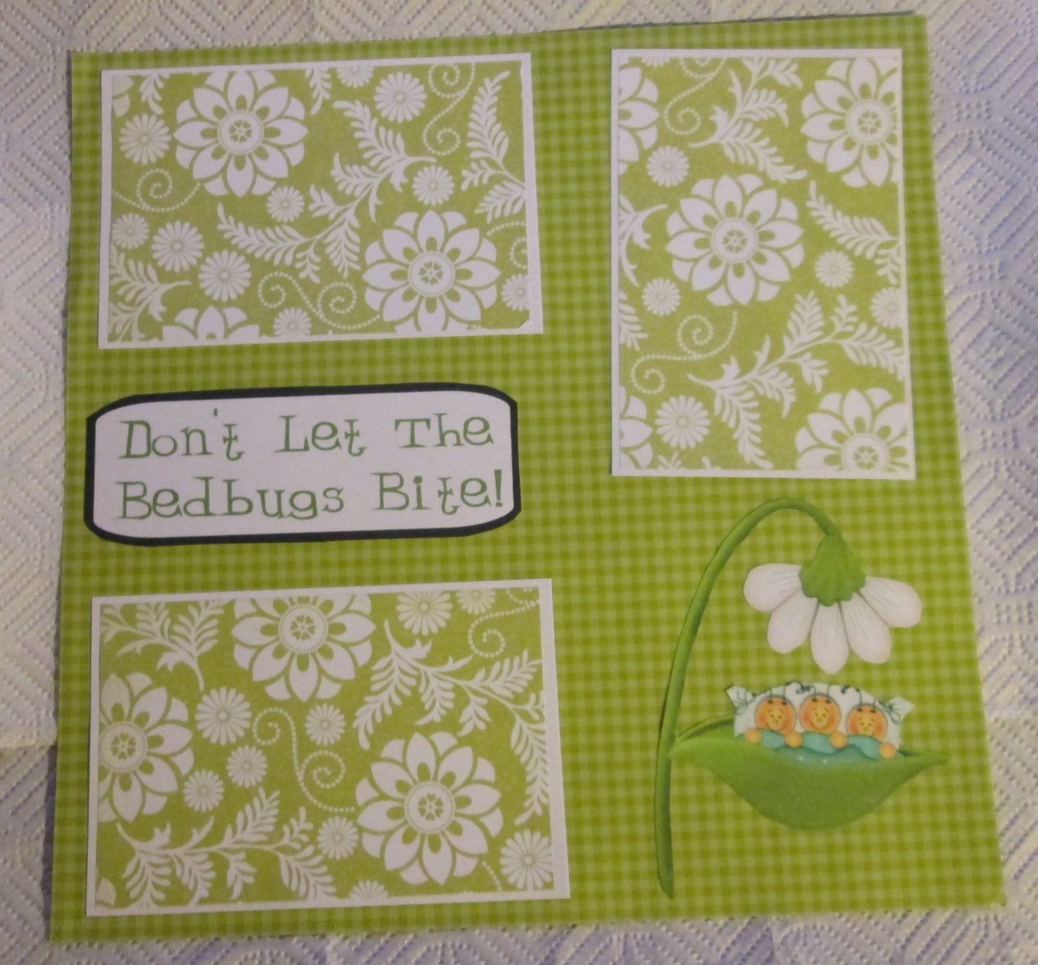 """""""Don't Let The Bedbugs Bite 2a""""-Premade Scrapbook Page 12x12"""