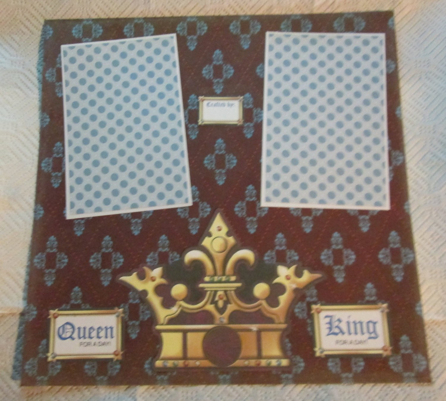 """""""Queen King For A Day 2a""""-Premade Scrapbook Page 12x12"""