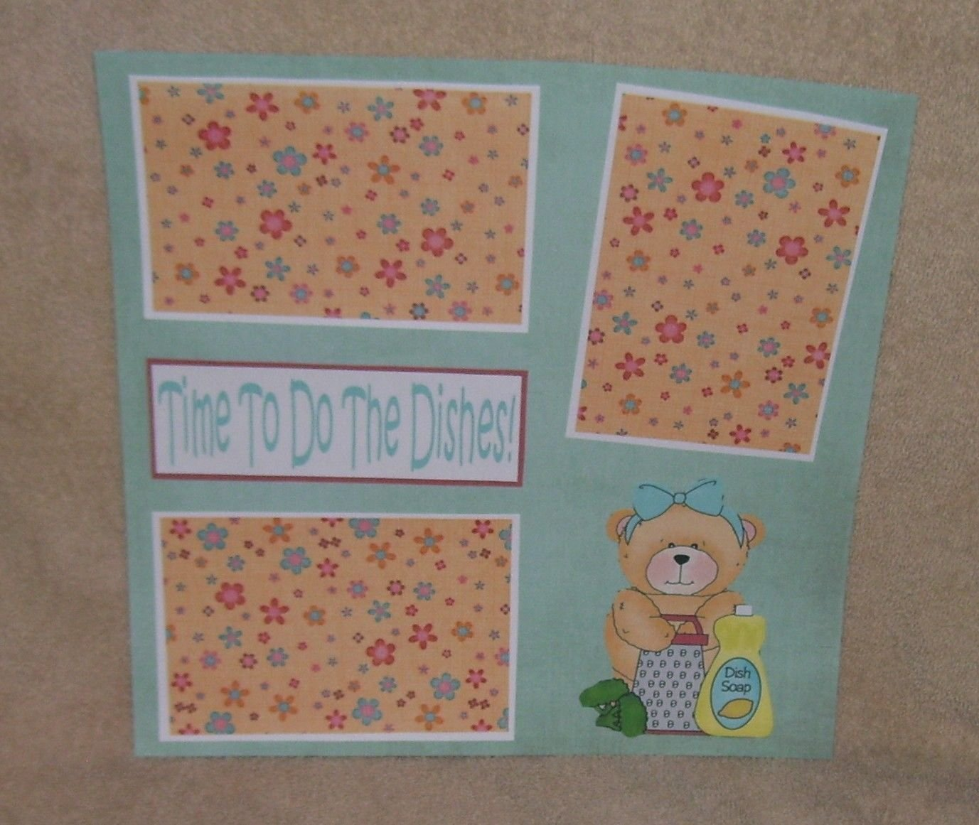 """""""Time To Do The Dishes""""-Premade Scrapbook Page 12x12"""