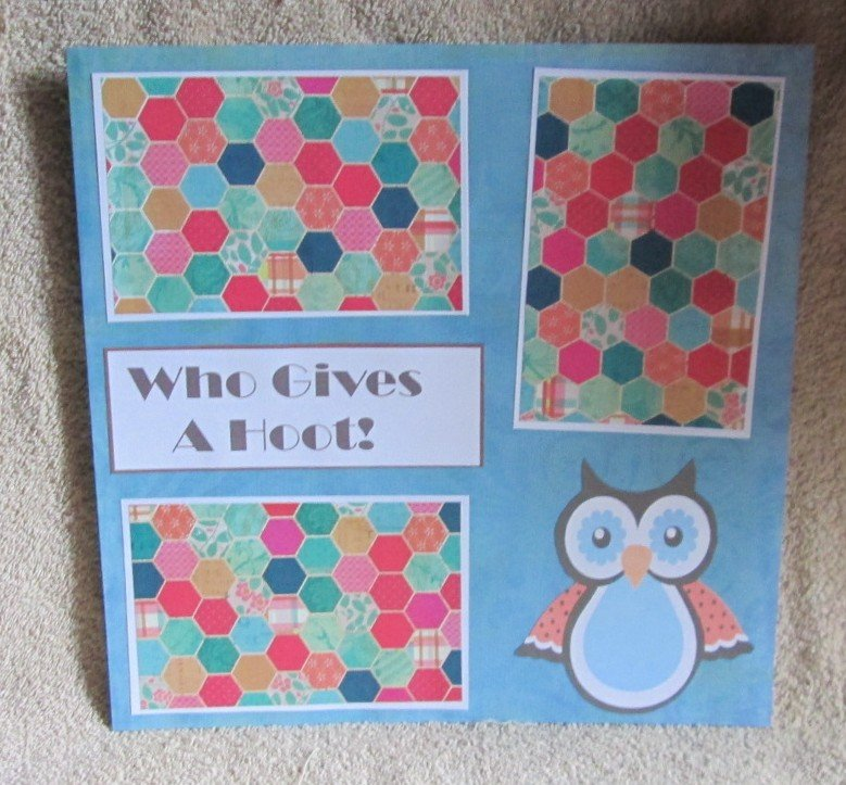 """""""Whoo Gives A Hoot?""""-Premade Scrapbook Page 12x12"""