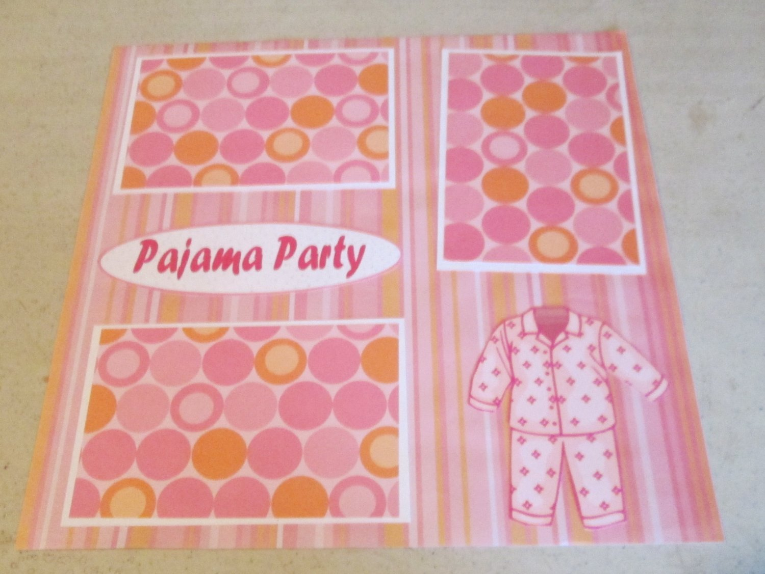 """Pajama Party 3b""-Premade Scrapbook Page 12x12"