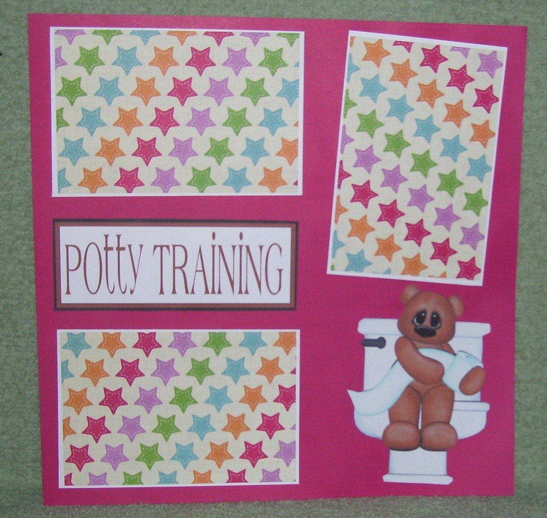 """Potty Training Girl""-Premade Scrapbook Page 12x12"