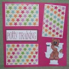 """Potty Training Girl""-Premade Scrapbook Page 12x12"