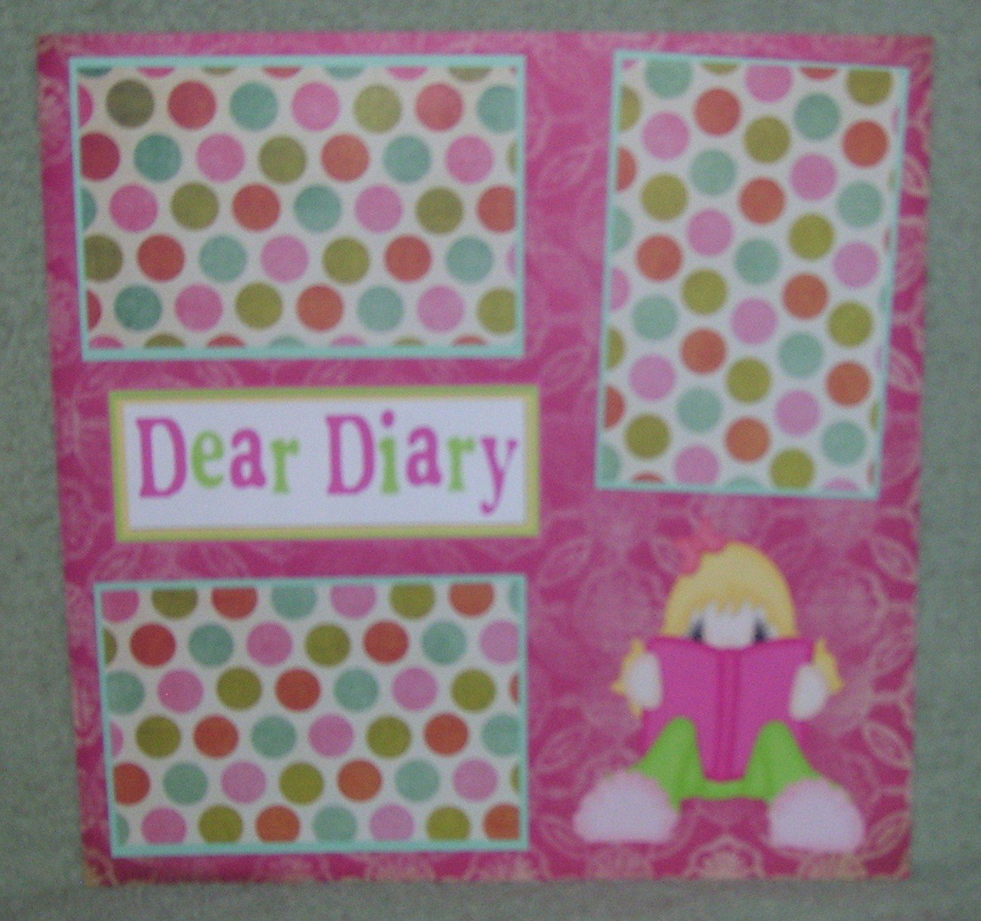 """Dear Diary""-Premade Scrapbook Page 12x12"