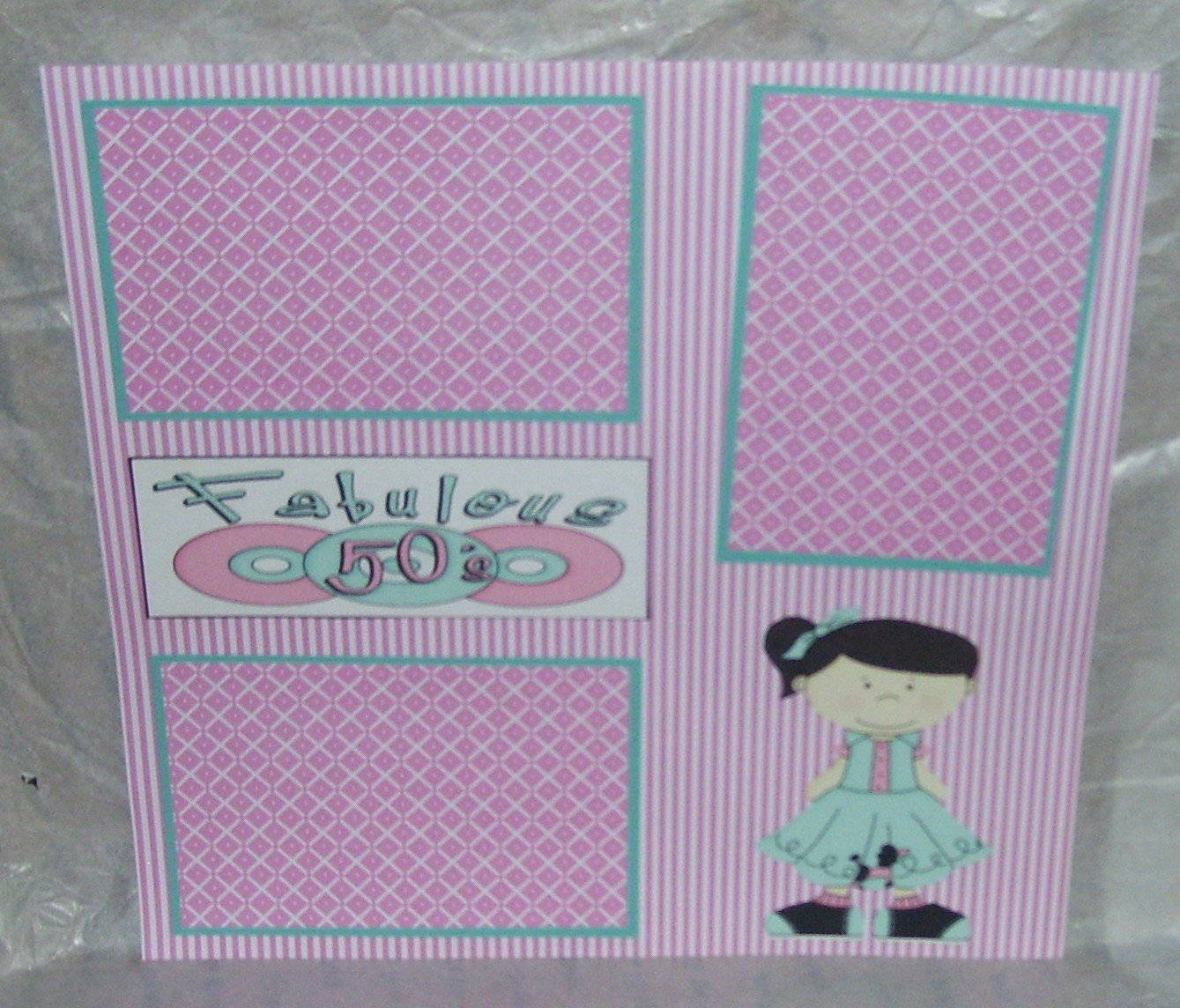"""""""Fabulous 50's Girl""""-Premade Scrapbook Page 12x12"""