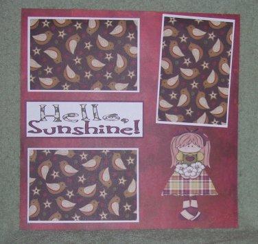 """Hello Sunshine tc""-Premade Scrapbook Page 12x12"