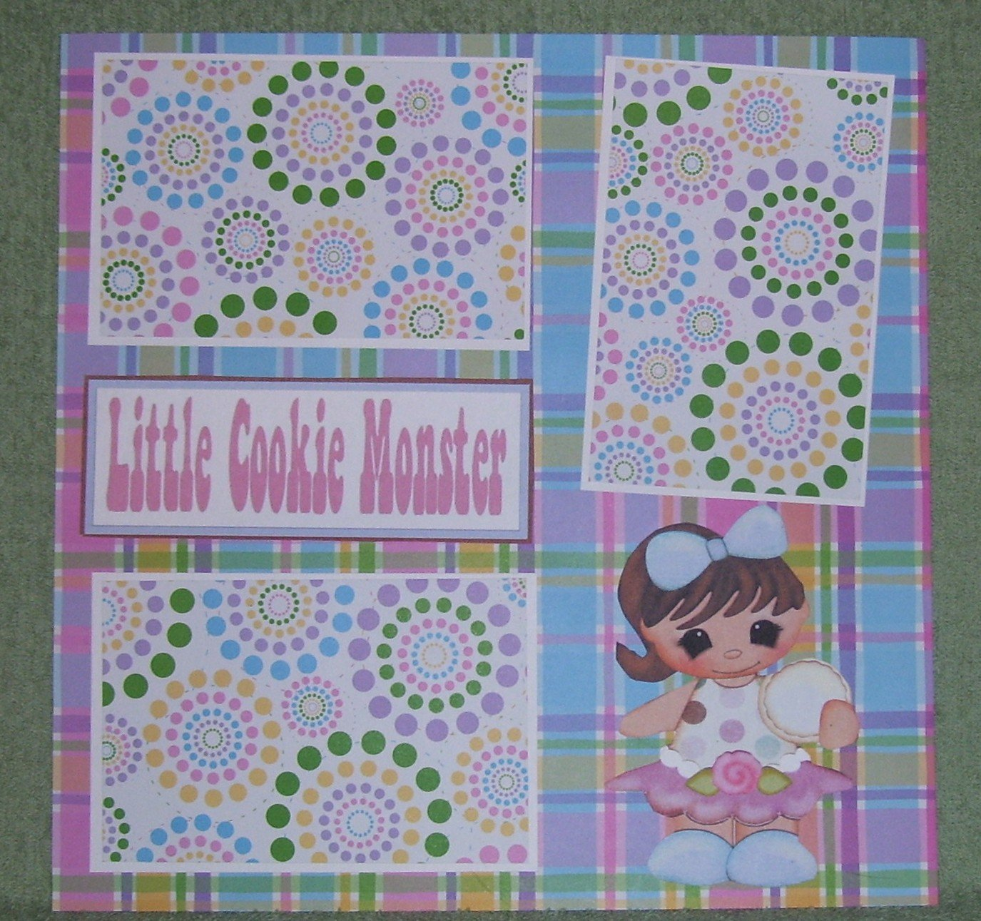 """""""Little Cookie Monster tm""""-Premade Scrapbook Page 12x12"""