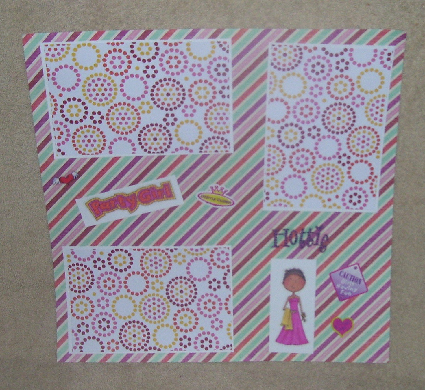 """""""Party Girl s""""-Premade Scrapbook Page 12x12"""