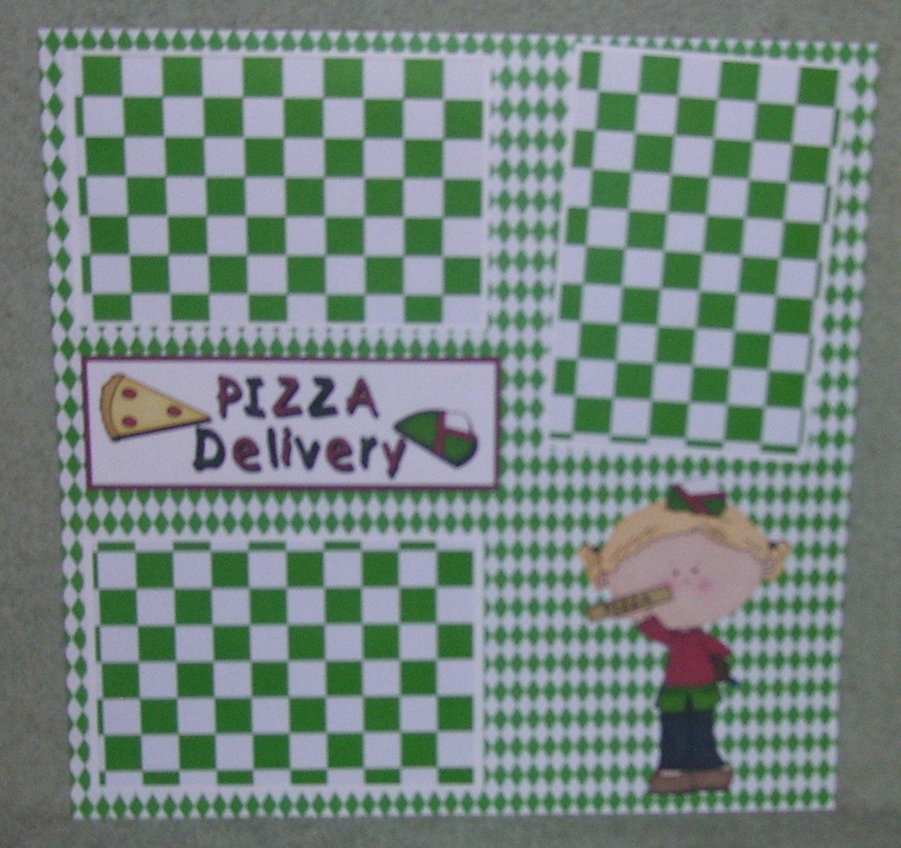 """""""Pizza Delivery Girl""""-Premade Scrapbook Page 12x12"""